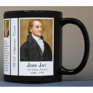 John Jay, Chief Justice, US Supreme Court biographical history mug tri-panel.