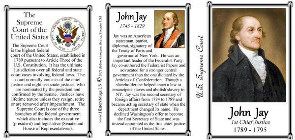 John Jay, Chief Justice, US Supreme Court history mug tri-panel.