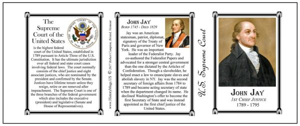 John Jay, Chief Justice, US Supreme Court history mug tri-panel.