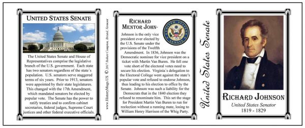 Richard Johnson US Senator history mug tri-panel.