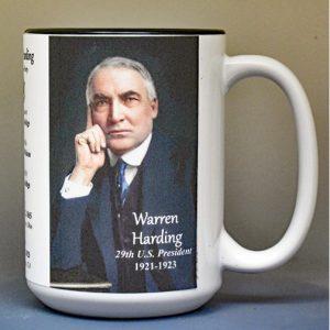 Warren Harding, US President biographical history mug.
