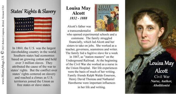 Louisa May Alcott, Civil War biographical history mug tri-panel.