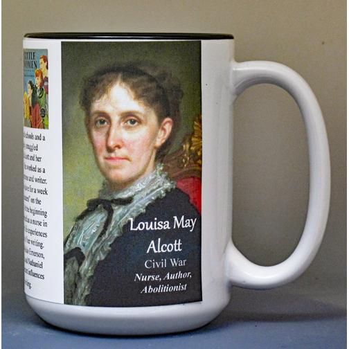 Louisa May Alcott, Civil War biographical history mug.