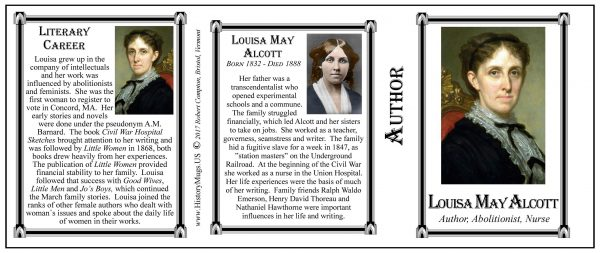 Louisa May Alcott author history mug tri-panel.