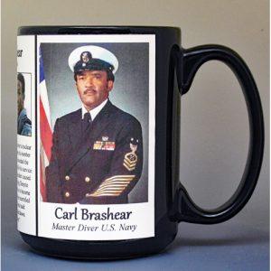 Carl Brashear, US Navy Master Diver biographical history mug.