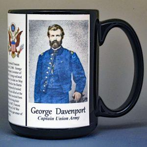 George Davenport, Union Army, US Civil War biographical history mug.