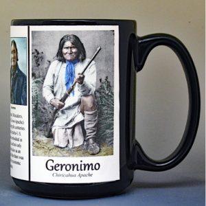 Geronimo, Native American leader biographical history mug.