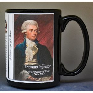 Thomas Jefferson, US Secretary of State biographical history mug.