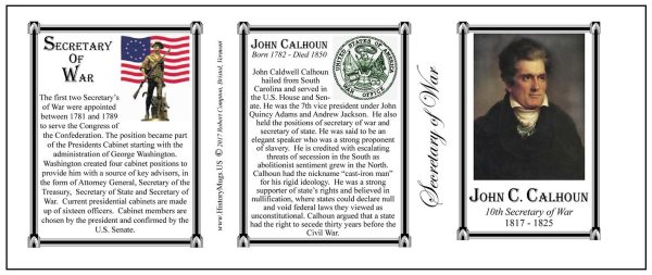 John C. Calhoun, Secretary of War history mug tri-panel.