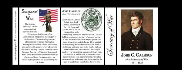 John C. Calhoun US Secretary of War history mug tri-panel.
