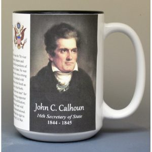 John C. Calhoun, US Secretary of State biographical history mug.