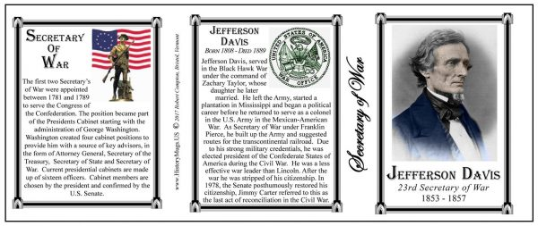 Jefferson Davis, Secretary of War history mug tri-panel.