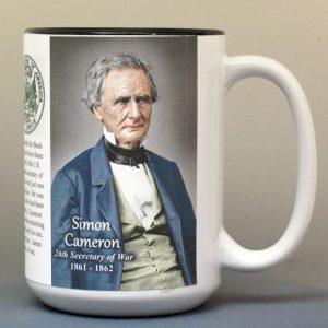 Simon Cameron, US Secretary of War biographical history mug.