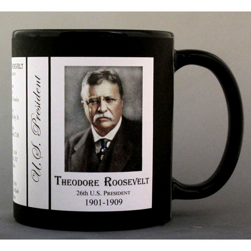 26th US President Theodore Roosevelt biographical history mug.