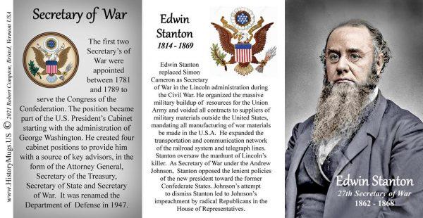 Edwin Stanton, US Secretary of War biographical history mug tri-panel.