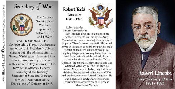 Robert Lincoln, US Secretary of War biographical history mug tri-panel.
