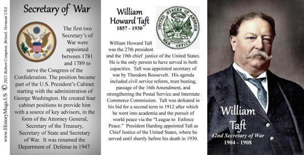 William H. Taft, US Secretary of War biographical history mug tri-panel.