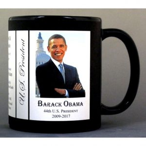 44th US President Barack Obama history mug.