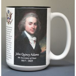 John Quincy Adams, US Secretary of State biographical history mug.