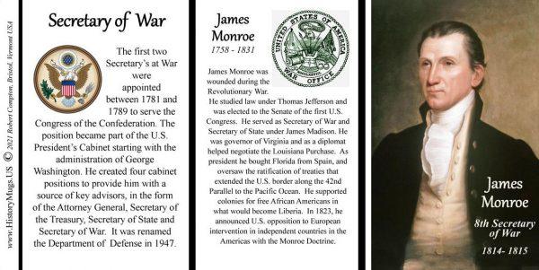 James Monroe, US Secretary of War biographical history mug tri-panel.