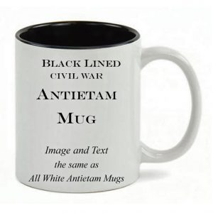 Black Lined White mug, same copy as All White Antietam Mug.