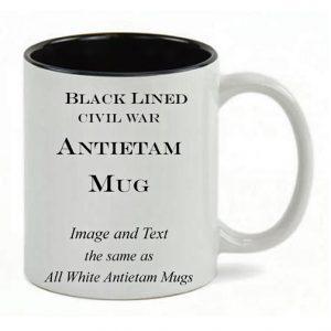 Black Lined White mug, same copy as All White Antietam Mug.