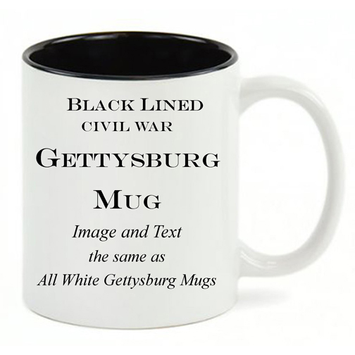 Black Lined White mug, same copy as All White Gettysburg mug.