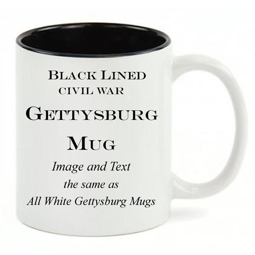 Black Lined White mug, same copy as All White Gettysburg mug.