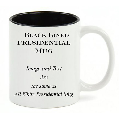 Black Lined White mug, same copy as All White Mug.