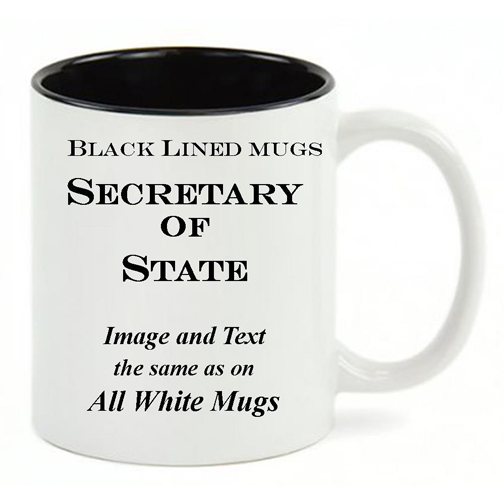 Black Lined White mug, same copy as All White US Secretary of State mug.