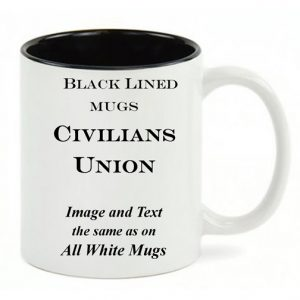 Black Lined White mug, same copy as All White Union civilian history mug.