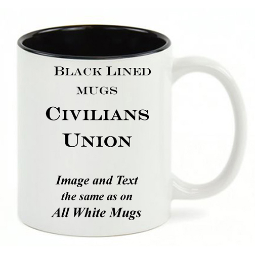 Black Lined White mug, same copy as All White Union civilian history mug.