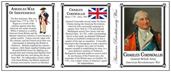 General Charles Cornwallis, British soldier, Revolutionary War history mug tri-panel.