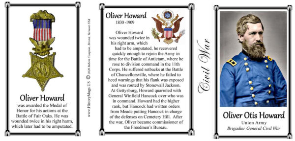 Oliver Howard, Civil War Union Army, Medal of Honor, history mug tri-panel.