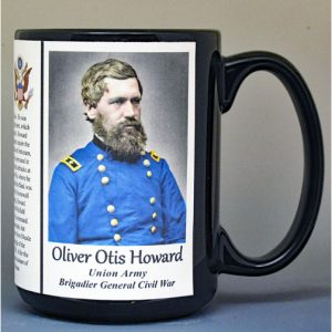 Oliver Otis Howard, Union Army, US Civil War biographical history mug.