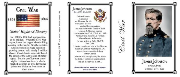 James Johnson Civil War Union Army biographical history mug tri-panel.