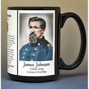 James Johnson, Union Army, US Civil War biographical history mug.