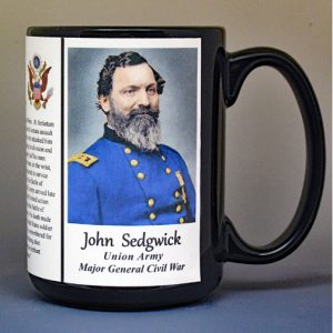 John Sedgwick, Major General Union Army, US Civil War biographical history mug.