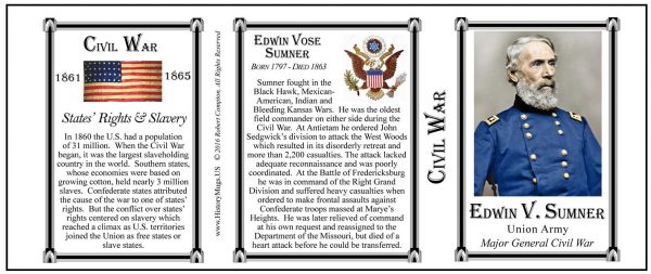 Edwin V. Sumner Civil War Union Army history mug tri-panel.