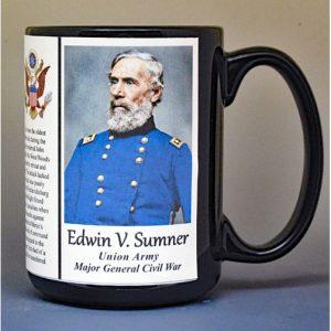 Edwin Sumner, Major General Union Army, US Civil War biographical history mug.