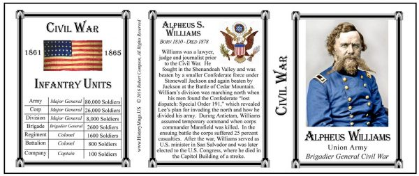Alpheus Williams Civil War Union Army history mug tri-panel.