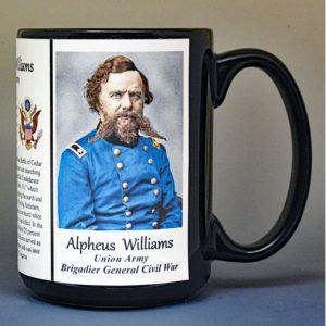 Alpheus Williams, Brigadier General Union Army, US Civil War biographical history mug.
