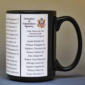 All of the Declaration of Independence Signatories biographical history mug.