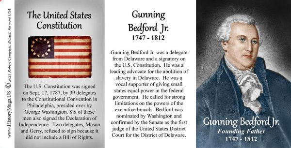 Gunning Bedford Jr., US Constitution signatory biographical history mug tri-panel.