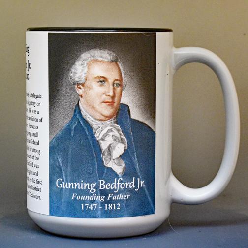 Gunning Bedford Jr., US Constitution signatory biographical history mug.