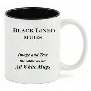 Black Lined White mug, same copy as the All-White mug.