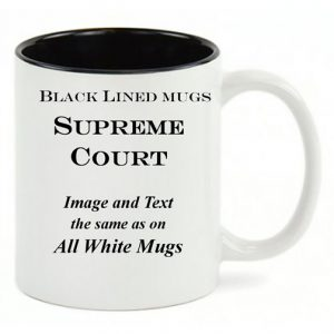 Black Lined White mug, same copy as All-White US Supreme Court history mug.