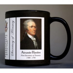 Alexander Hamilton US Secretary of Treasury biographical history mug.
