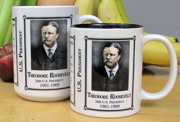 Two sizes of Theodore Roosevelt history mugs.