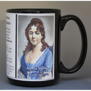 Martha Jefferson, wife of Thomas Jefferson, biographical history mug.
